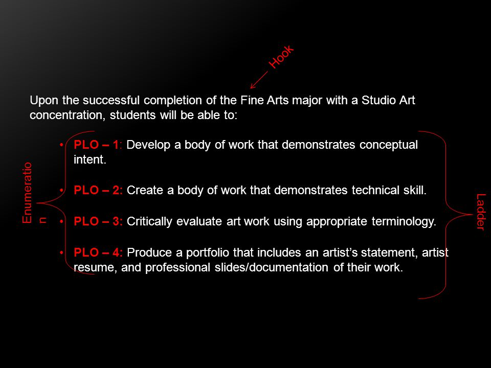 Upon the successful completion of the Fine Arts major with a Studio Art concentration, students will be able to: PLO – 1: Develop a body of work that