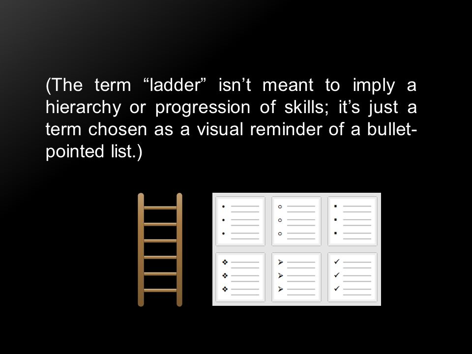 "(The term ""ladder"" isn't meant to imply a hierarchy or progression of skills; it's just a term chosen as a visual reminder of a bullet- pointed list.)"