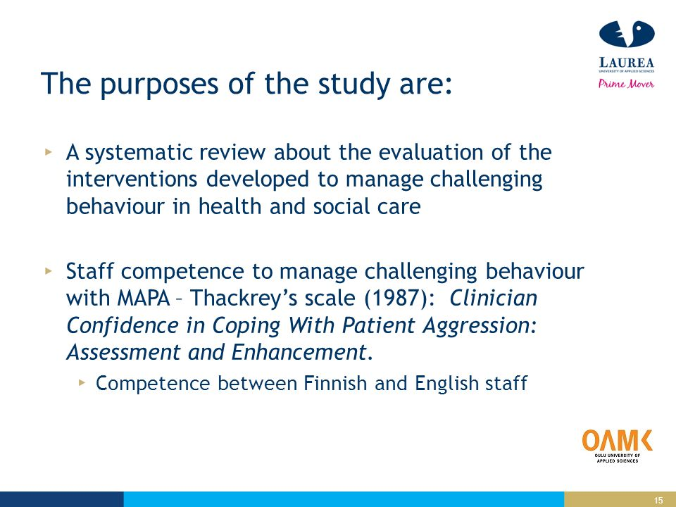 15 The purposes of the study are: A systematic review about the evaluation of the interventions developed to manage challenging behaviour in health and social care Staff competence to manage challenging behaviour with MAPA – Thackrey's scale (1987): Clinician Confidence in Coping With Patient Aggression: Assessment and Enhancement.