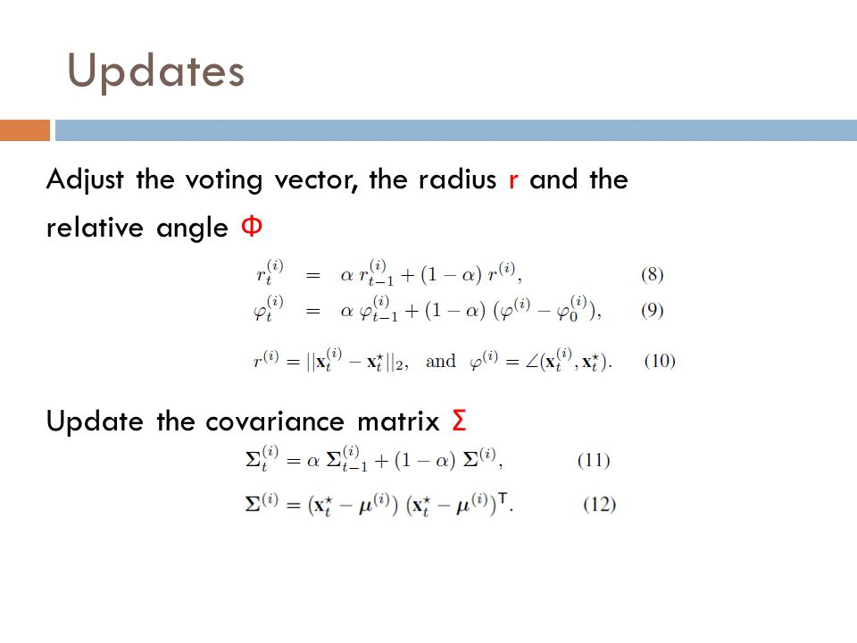 Updates Adjust the voting vector, the radius r and the relative angle Ф Update the covariance matrix Σ