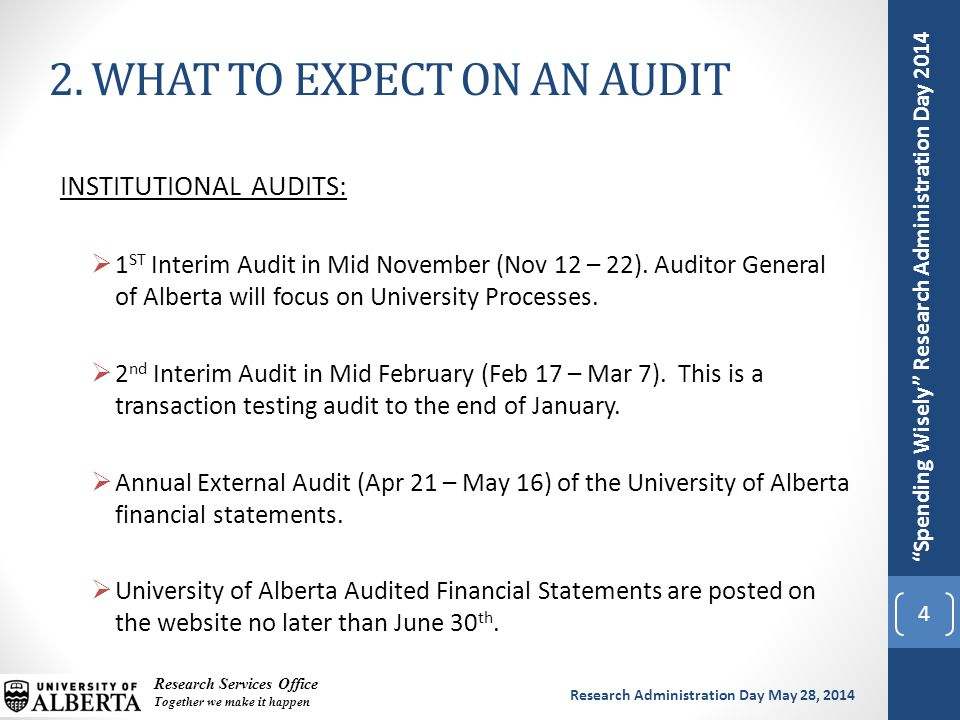 Spending Wisely Research Administration Day 2014 Research Services Office Together we make it happen Research Administration Day May 28, 2014 INSTITUTIONAL AUDITS:  1 ST Interim Audit in Mid November (Nov 12 – 22).