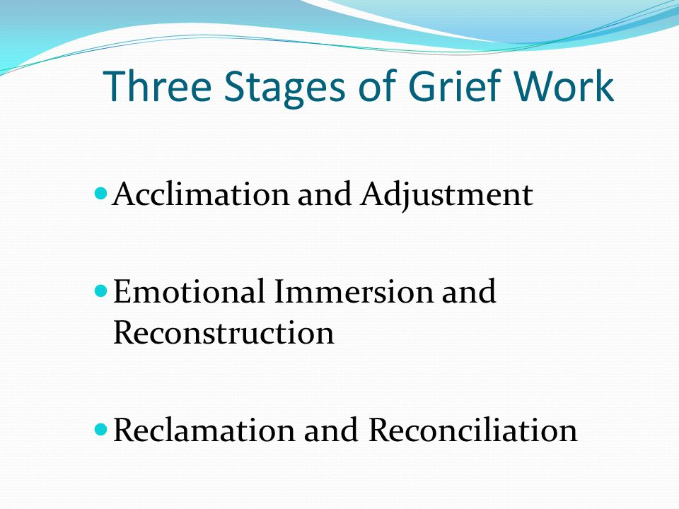 Three Stages of Grief Work Acclimation and Adjustment Emotional Immersion and Reconstruction Reclamation and Reconciliation