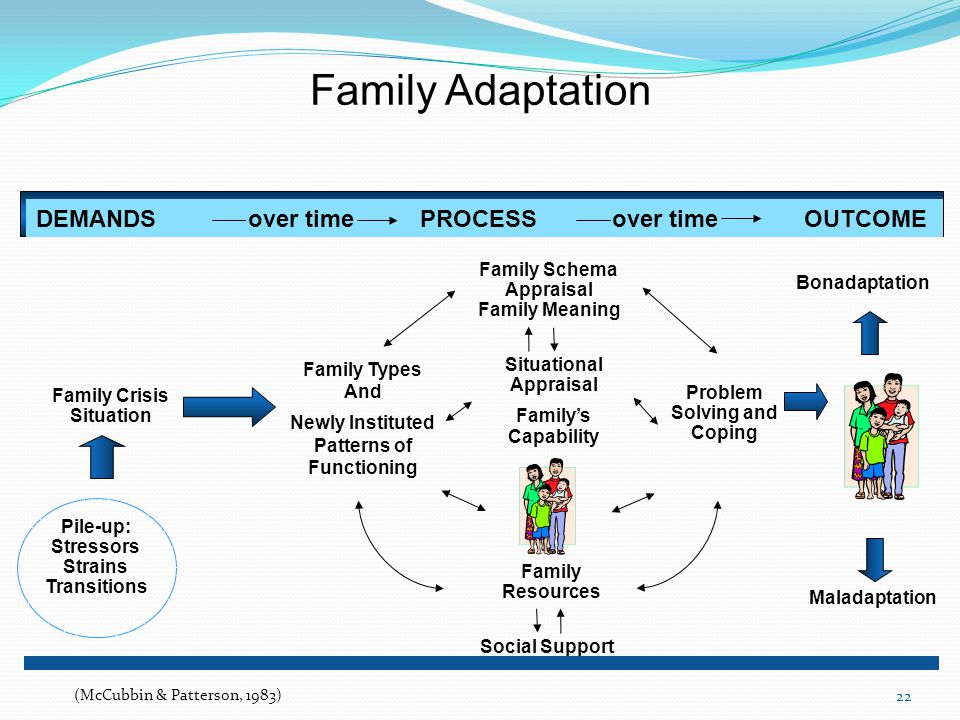 22 DEMANDS over timePROCESSover timeOUTCOME Family Crisis Situation Family Types And Newly Instituted Patterns of Functioning Family Schema Appraisal Family Meaning Family Resources Problem Solving and Coping Maladaptation Bonadaptation Family Adaptation Pile-up: Stressors Strains Transitions Social Support Situational Appraisal Family's Capability (McCubbin & Patterson, 1983)