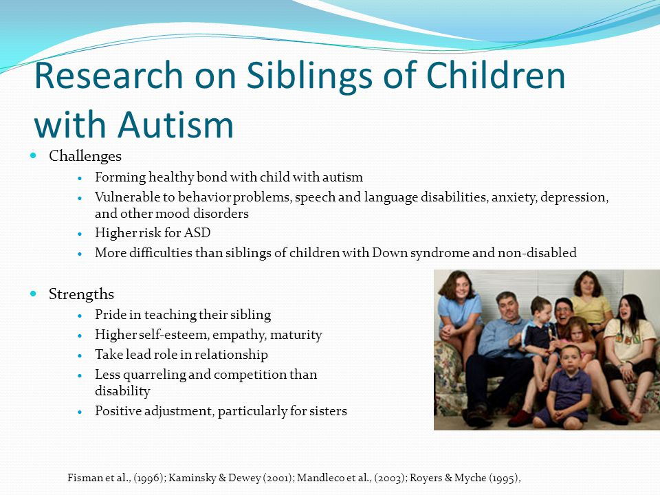 Research on Siblings of Children with Autism Challenges Forming healthy bond with child with autism Vulnerable to behavior problems, speech and language disabilities, anxiety, depression, and other mood disorders Higher risk for ASD More difficulties than siblings of children with Down syndrome and non-disabled Strengths Pride in teaching their sibling Higher self-esteem, empathy, maturity Take lead role in relationship Less quarreling and competition than families without disability Positive adjustment, particularly for sisters Fisman et al., (1996); Kaminsky & Dewey (2001); Mandleco et al., (2003); Royers & Myche (1995),