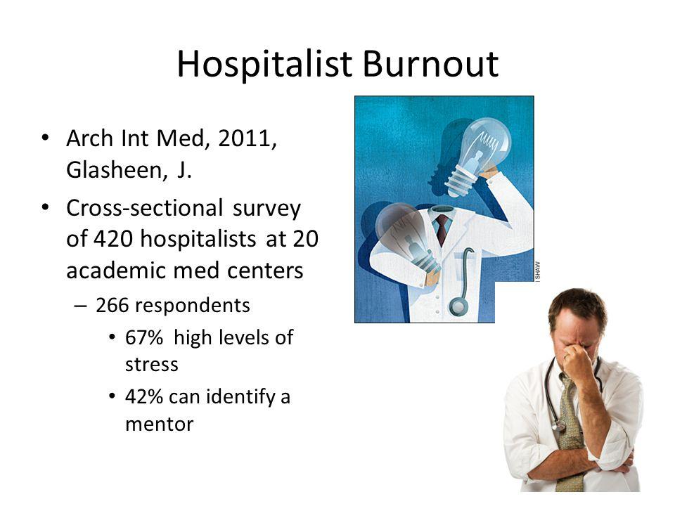 Hospitalist Burnout Arch Int Med, 2011, Glasheen, J.