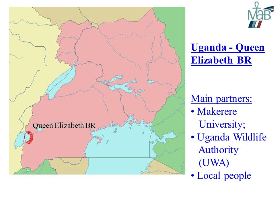 Uganda - Queen Elizabeth BR Main partners: Makerere University; Uganda Wildlife Authority (UWA) Local people Queen Elizabeth BR