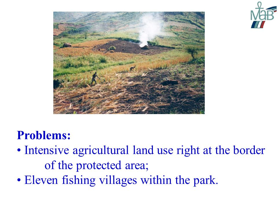 Problems: Intensive agricultural land use right at the border of the protected area; Eleven fishing villages within the park.