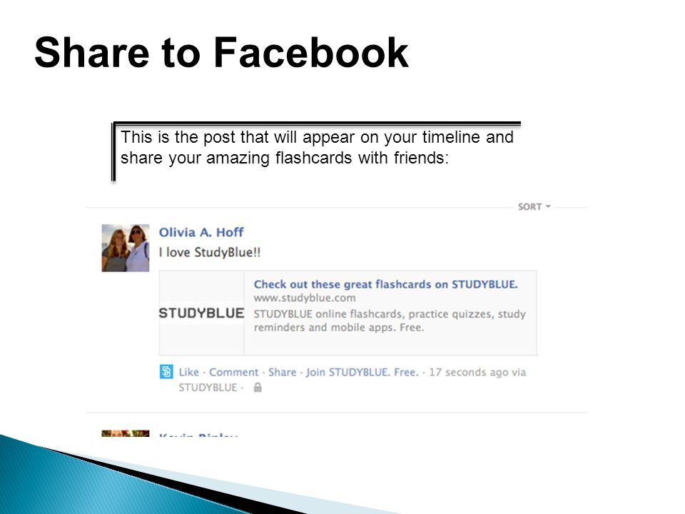 Share to Facebook This is the post that will appear on your timeline and share your amazing flashcards with friends: