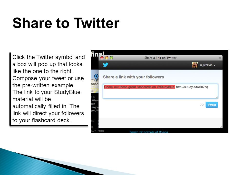 Share to Twitter Click the Twitter symbol and a box will pop up that looks like the one to the right.