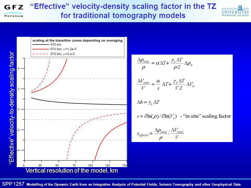 SPP 1257 Modelling of the Dynamic Earth from an Integrative Analysis of Potential Fields, Seismic Tomography and other Geophysical Data Effective velocity-density scaling factor in the TZ for traditional tomography models Vertical resolution of the model, km Effective velocity-to-density scaling factor