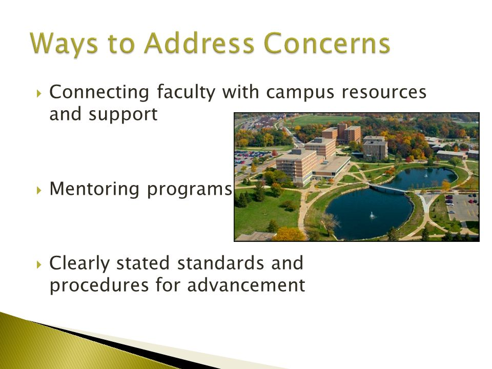  Connecting faculty with campus resources and support  Mentoring programs  Clearly stated standards and procedures for advancement