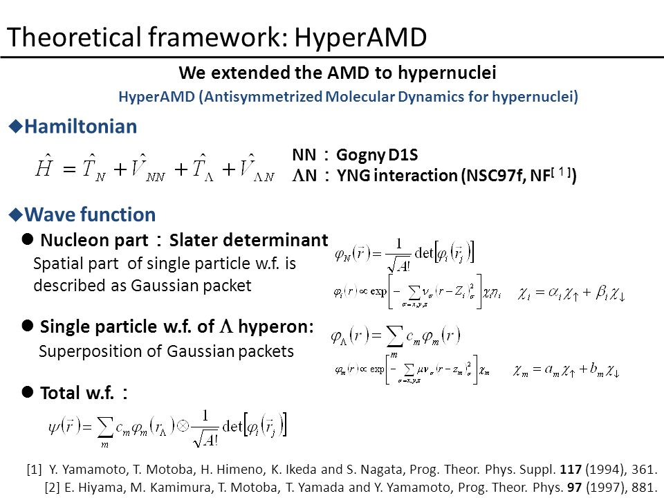 Theoretical framework: HyperAMD We extended the AMD to hypernuclei  Wave function Nucleon part : Slater determinant Spatial part of single particle w.f.
