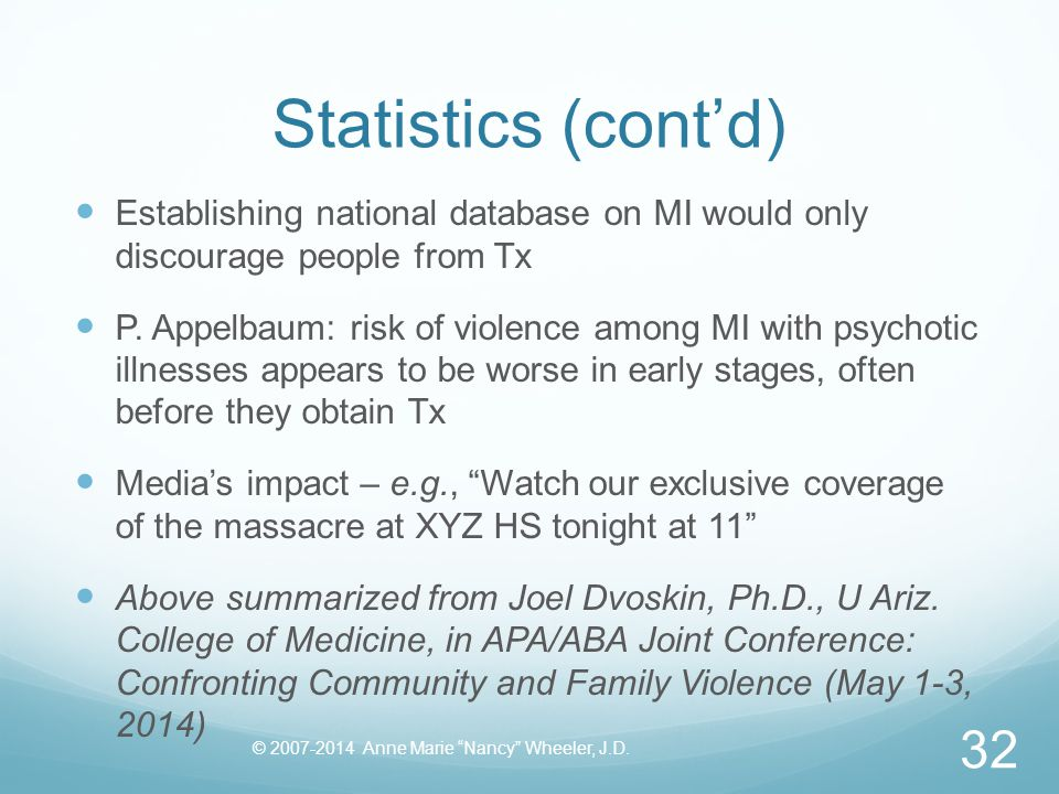 Statistics (cont'd) Establishing national database on MI would only discourage people from Tx P.