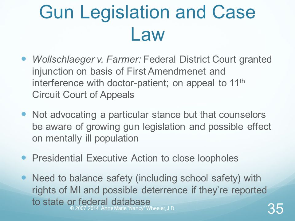 Gun Legislation and Case Law Wollschlaeger v. Farmer: Federal District Court granted injunction on basis of First Amendmenet and interference with doc