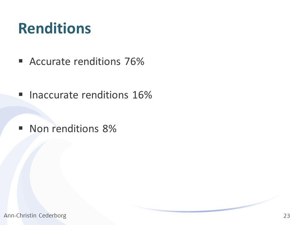 Renditions  Accurate renditions 76%  Inaccurate renditions 16%  Non renditions 8% Ann-Christin Cederborg 23