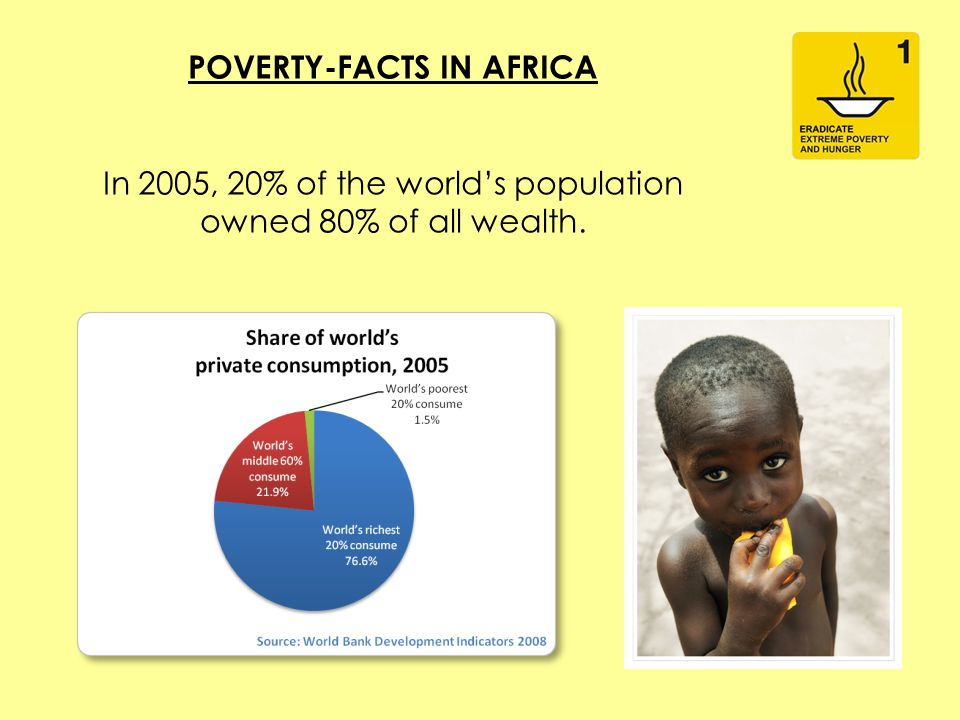 POVERTY-FACTS IN AFRICA In 2005, 20% of the world's population owned 80% of all wealth.