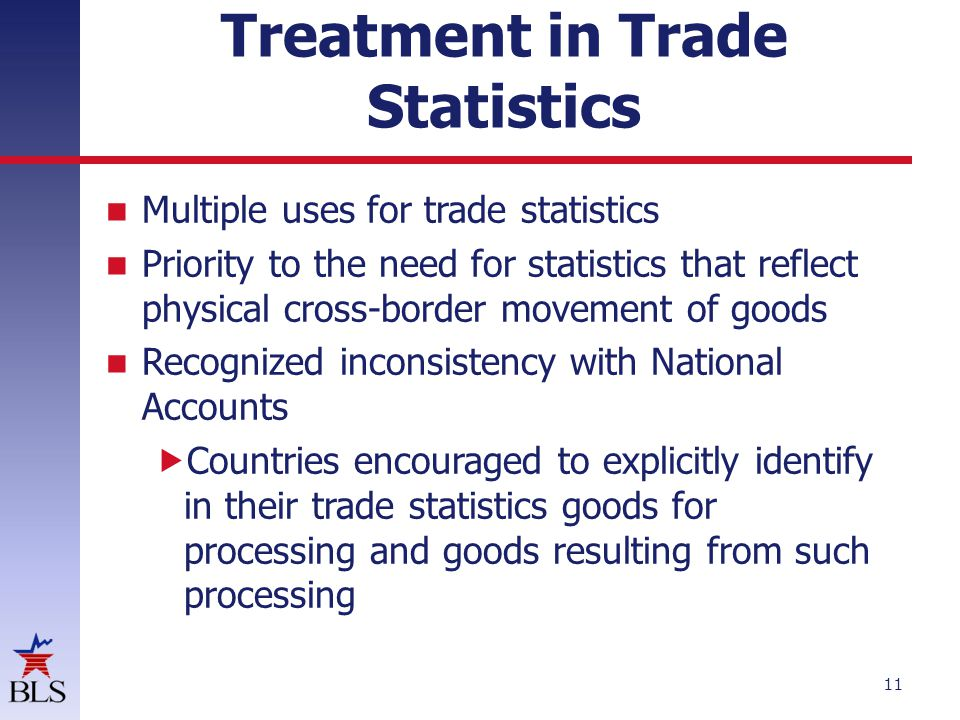 Treatment in Trade Statistics Multiple uses for trade statistics Priority to the need for statistics that reflect physical cross-border movement of goods Recognized inconsistency with National Accounts  Countries encouraged to explicitly identify in their trade statistics goods for processing and goods resulting from such processing 11