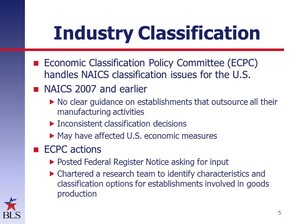 Industry Classification Economic Classification Policy Committee (ECPC) handles NAICS classification issues for the U.S.