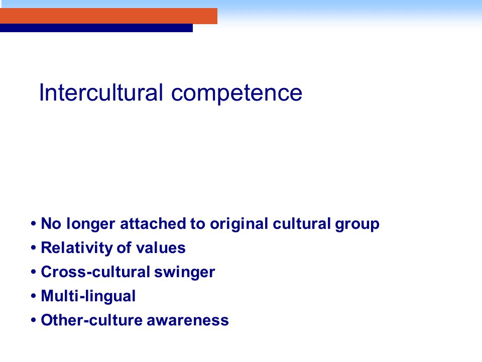 No longer attached to original cultural group Relativity of values Cross-cultural swinger Multi-lingual Other-culture awareness Intercultural competence