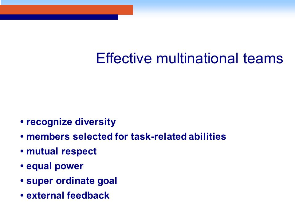 recognize diversity members selected for task-related abilities mutual respect equal power super ordinate goal external feedback Effective multination