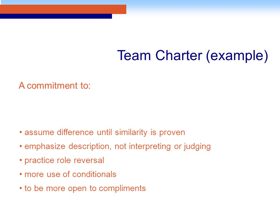 assume difference until similarity is proven emphasize description, not interpreting or judging practice role reversal more use of conditionals to be more open to compliments Team Charter (example) A commitment to: