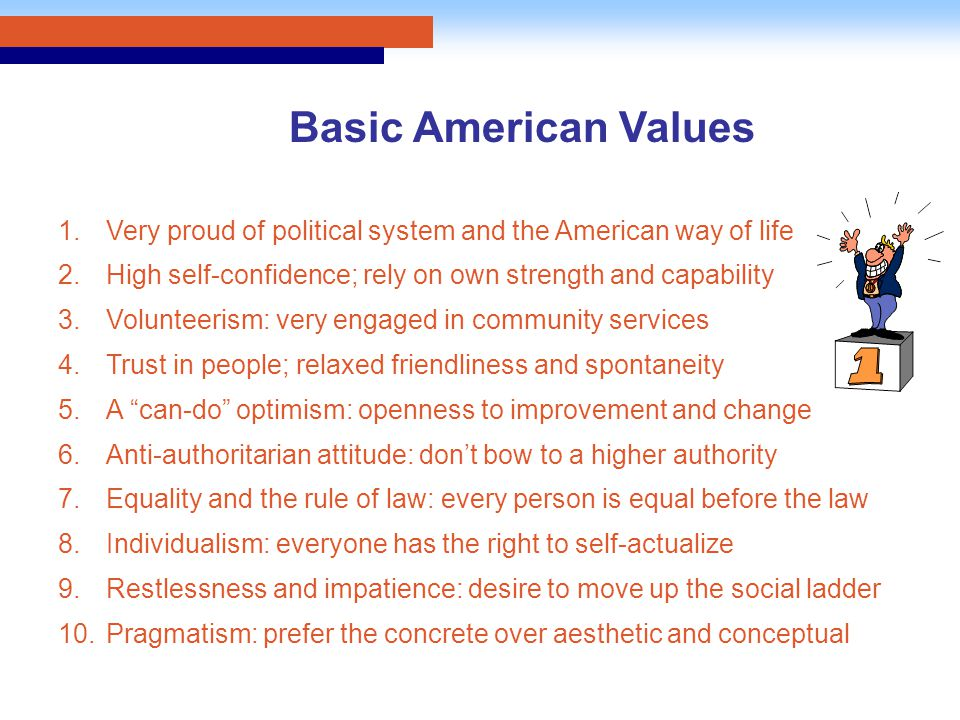 1.Very proud of political system and the American way of life 2.High self-confidence; rely on own strength and capability 3.Volunteerism: very engaged