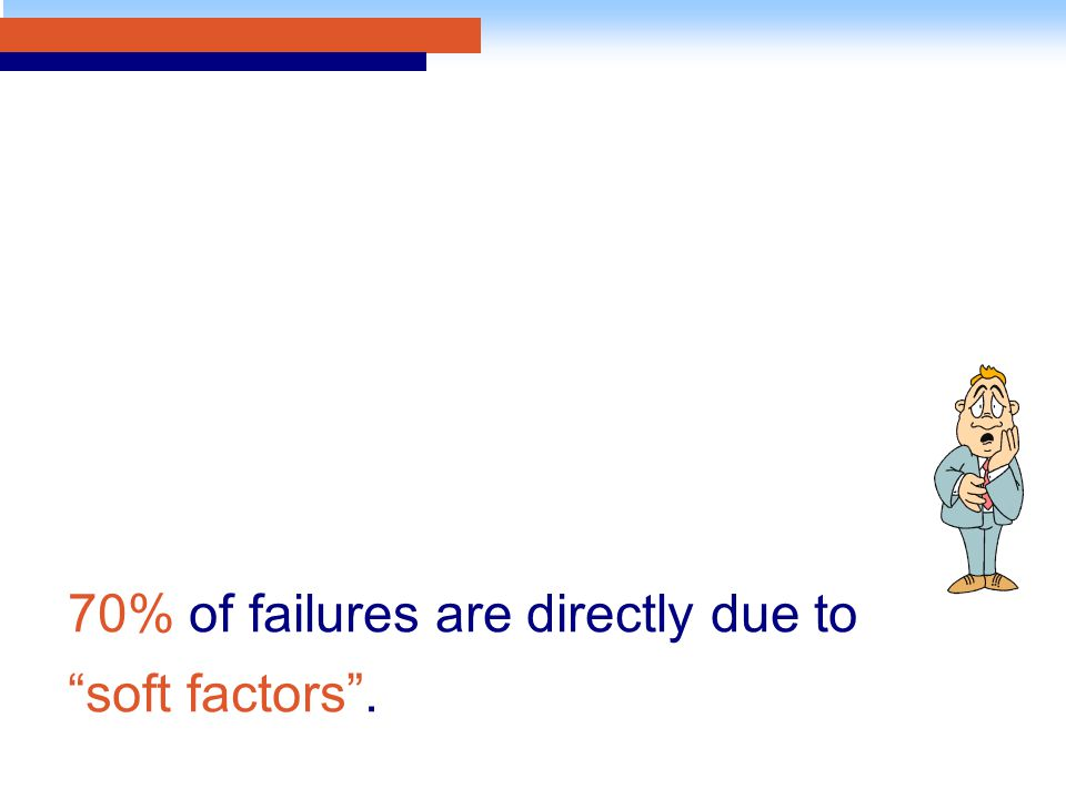 70% of failures are directly due to soft factors .