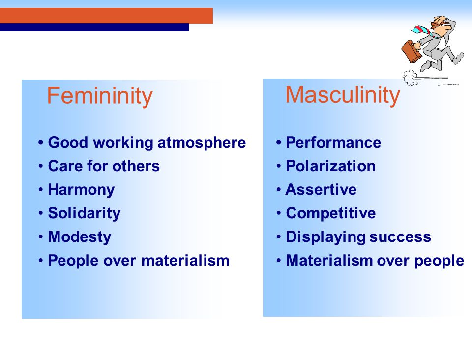 Good working atmosphere Care for others Harmony Solidarity Modesty People over materialism Performance Polarization Assertive Competitive Displaying success Materialism over people Femininity Masculinity