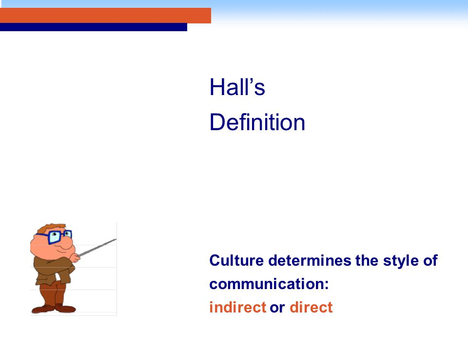 Hall's Definition Culture determines the style of communication: indirect or direct