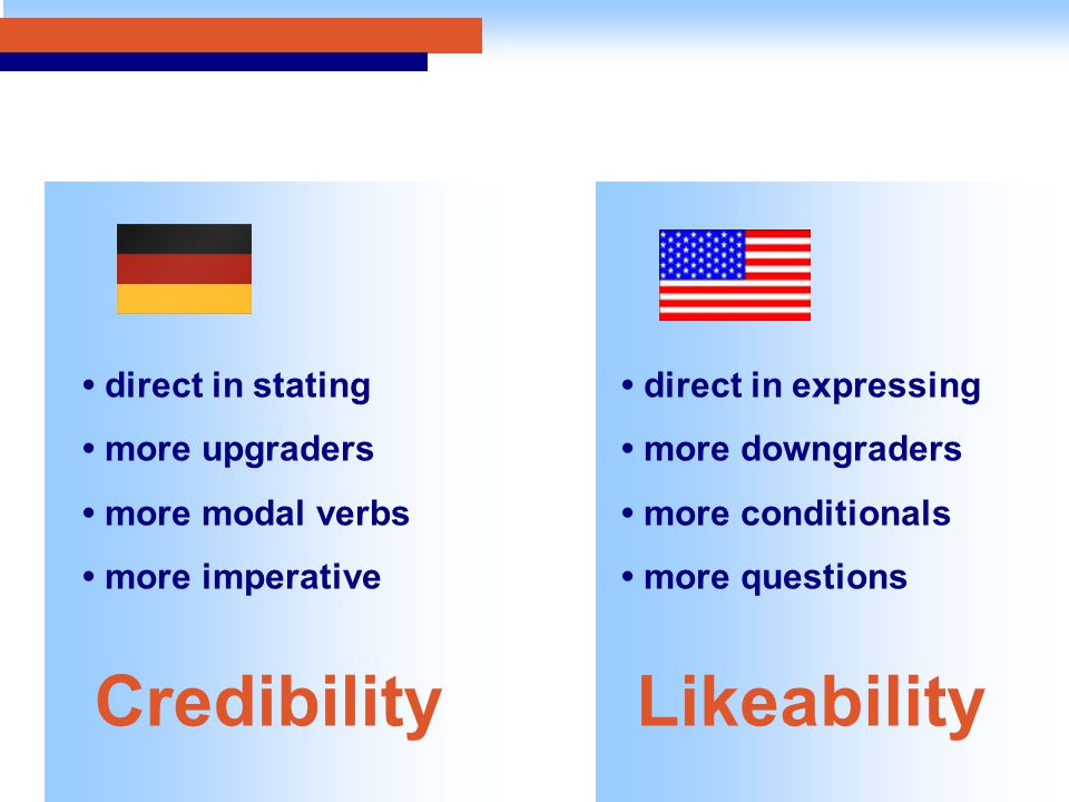 direct in stating more upgraders more modal verbs more imperative direct in expressing more downgraders more conditionals more questions CredibilityLikeability