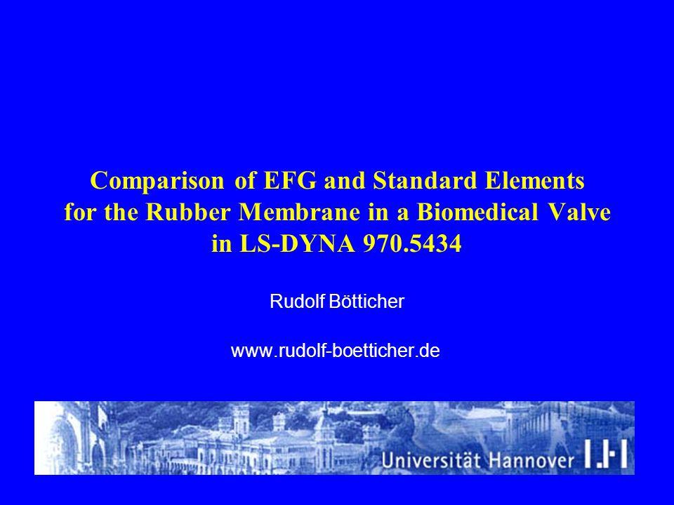 Comparison of EFG and Standard Elements for the Rubber Membrane in a Biomedical Valve in LS-DYNA 970.5434 Rudolf Bötticher www.rudolf-boetticher.de