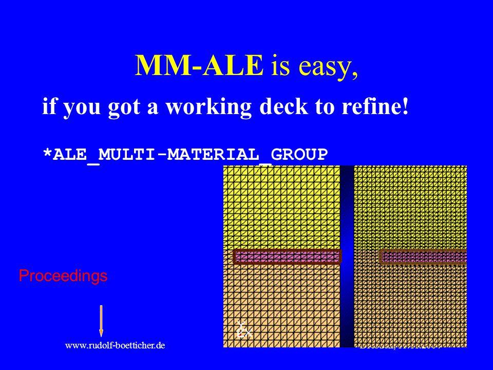 Dresden, 11.11.2004www.rudolf-boetticher.de MM-ALE is easy, if you got a working deck to refine! *ALE_MULTI-MATERIAL_GROUP Proceedings