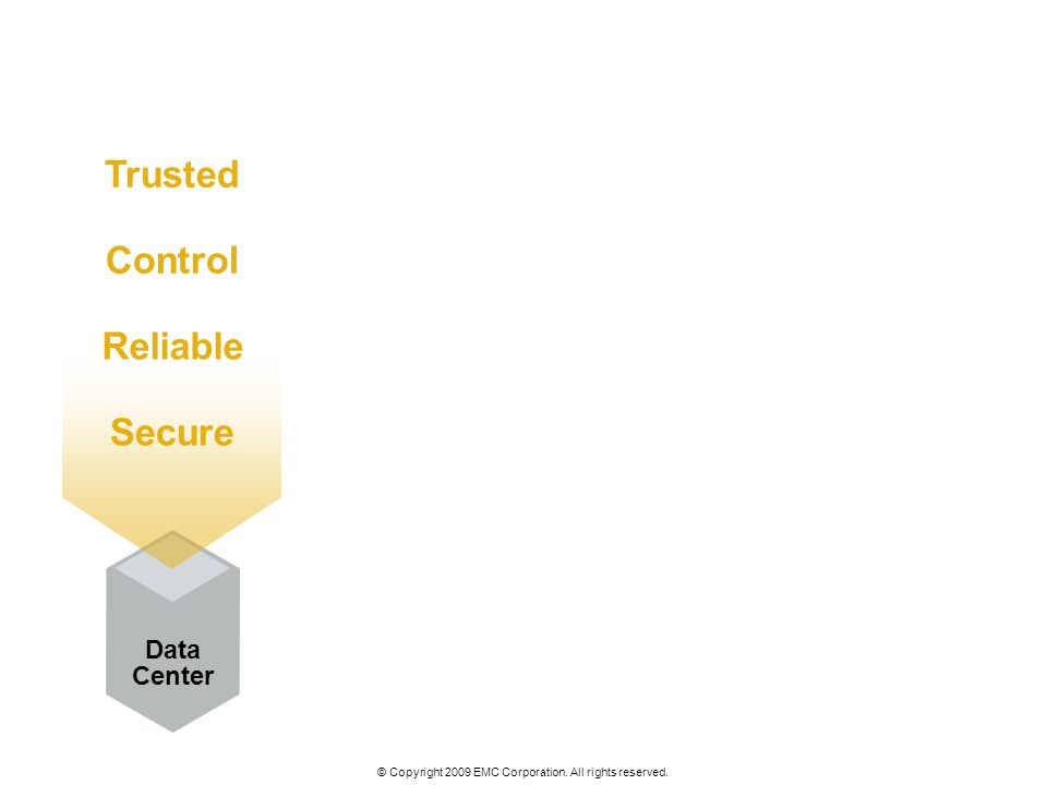 © Copyright 2009 EMC Corporation. All rights reserved. Data Center Trusted Control Reliable Secure