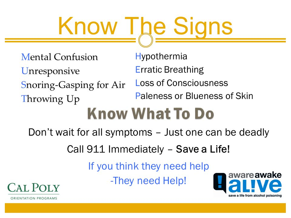 Mental Confusion Unresponsive Snoring-Gasping for Air Throwing Up Know The Signs Hypothermia Erratic Breathing Loss of Consciousness Paleness or Blueness of Skin Don't wait for all symptoms – Just one can be deadly Call 911 Immediately – Save a Life.
