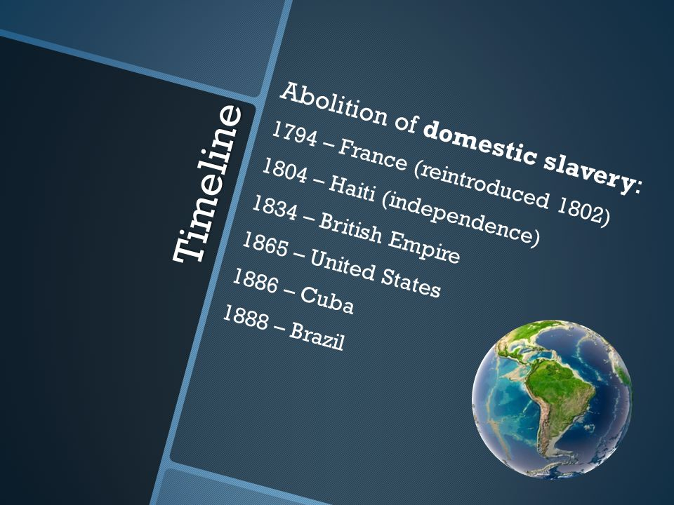 Timeline Abolition of domestic slavery: 1794 – France (reintroduced 1802) 1804 – Haiti (independence) 1834 – British Empire 1865 – United States 1886 – Cuba 1888 – Brazil