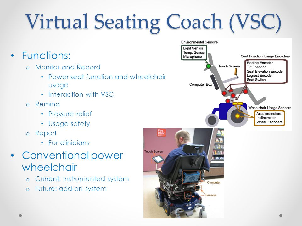Virtual Seating Coach (VSC) Functions: o Monitor and Record Power seat function and wheelchair usage Interaction with VSC o Remind Pressure relief Usa