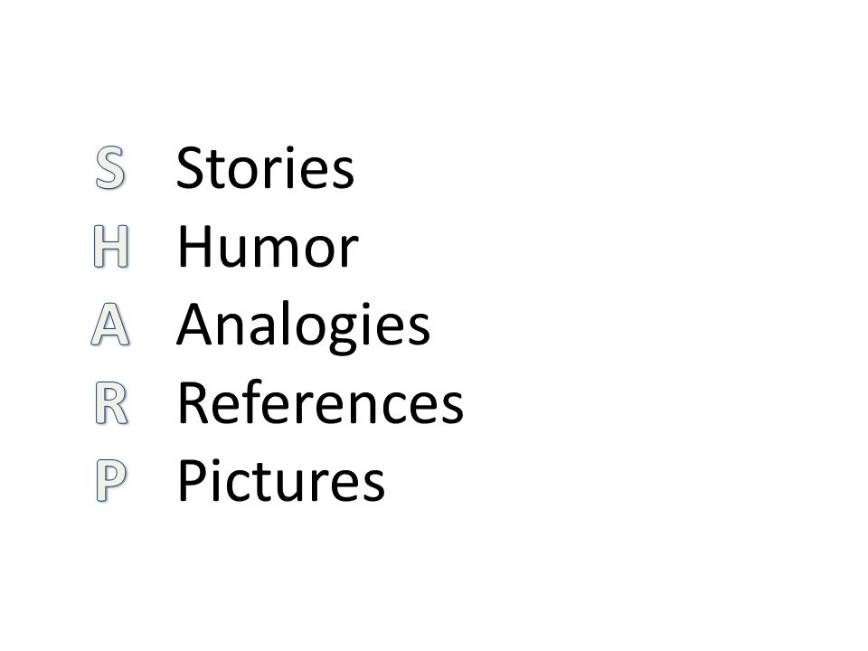 Stories Humor Analogies References Pictures