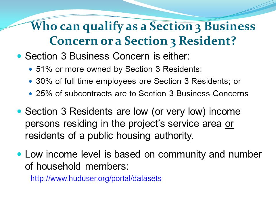 Who can qualify as a Section 3 Business Concern or a Section 3 Resident.