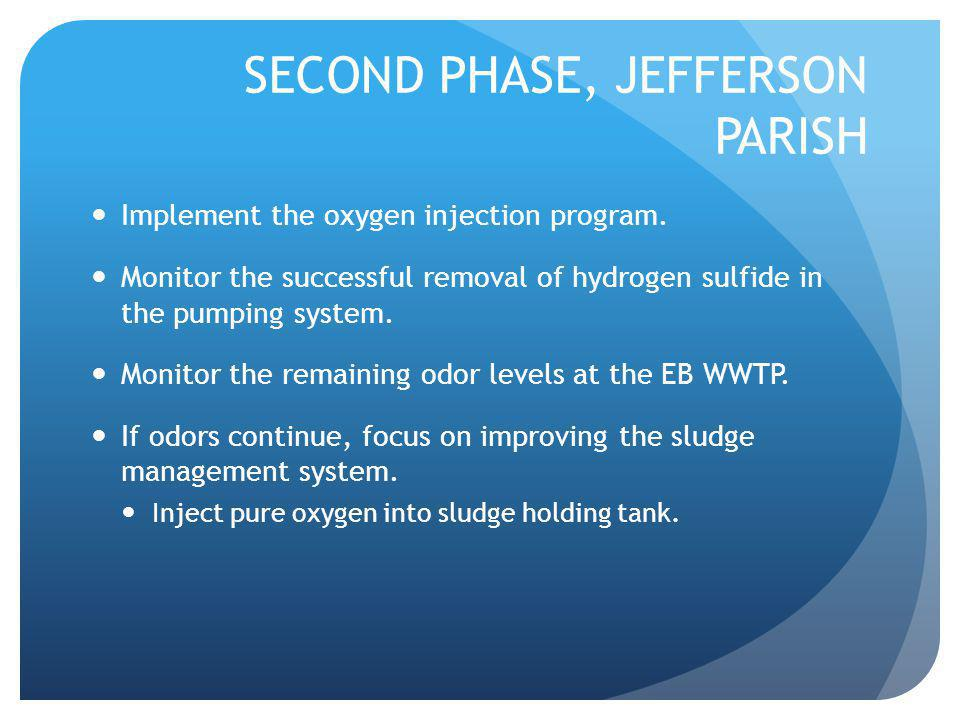 SECOND PHASE, JEFFERSON PARISH Implement the oxygen injection program.