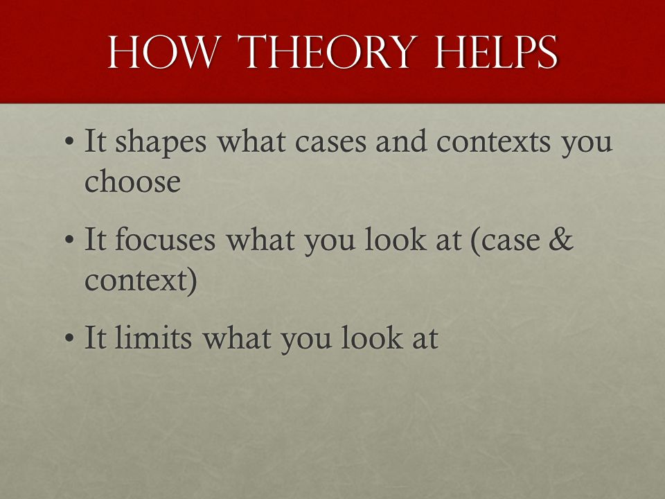 How theory helps It shapes what cases and contexts you chooseIt shapes what cases and contexts you choose It focuses what you look at (case & context)It focuses what you look at (case & context) It limits what you look atIt limits what you look at