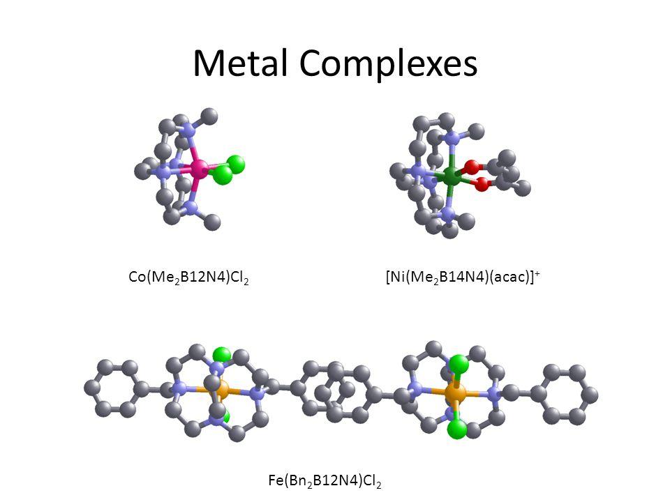 Metal Complexes Co(Me 2 B12N4)Cl 2 [Ni(Me 2 B14N4)(acac)] + Fe(Bn 2 B12N4)Cl 2