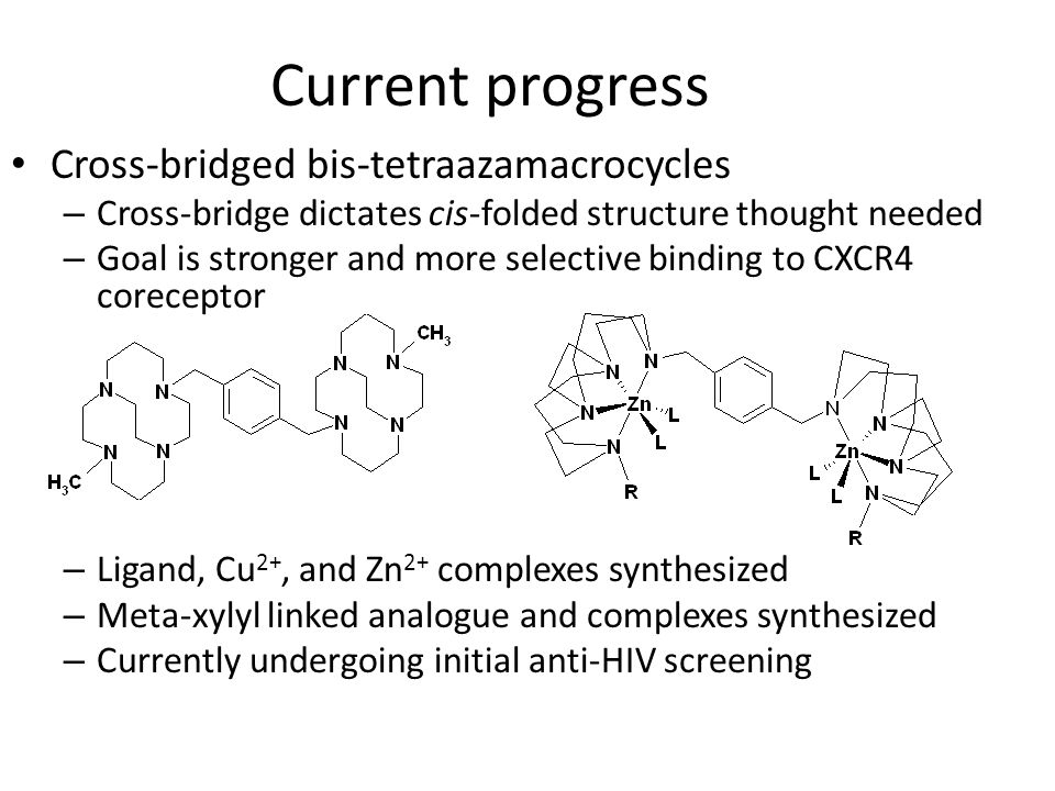 Current progress Cross-bridged bis-tetraazamacrocycles – Cross-bridge dictates cis-folded structure thought needed – Goal is stronger and more selecti