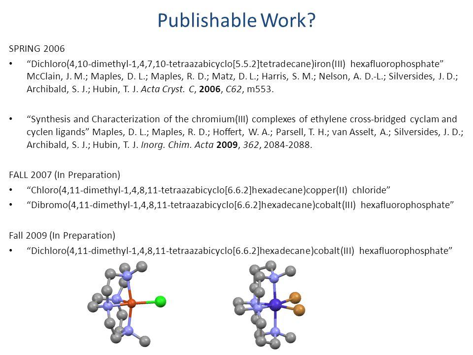 "Publishable Work? SPRING 2006 ""Dichloro(4,10-dimethyl-1,4,7,10-tetraazabicyclo[5.5.2]tetradecane)iron(III) hexafluorophosphate"" McClain, J. M.; Maples"