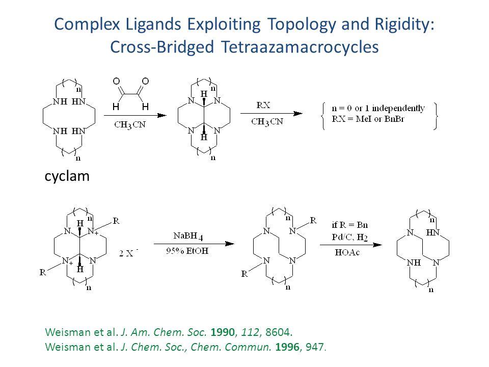 Complex Ligands Exploiting Topology and Rigidity: Cross-Bridged Tetraazamacrocycles Weisman et al. J. Am. Chem. Soc. 1990, 112, 8604. Weisman et al. J