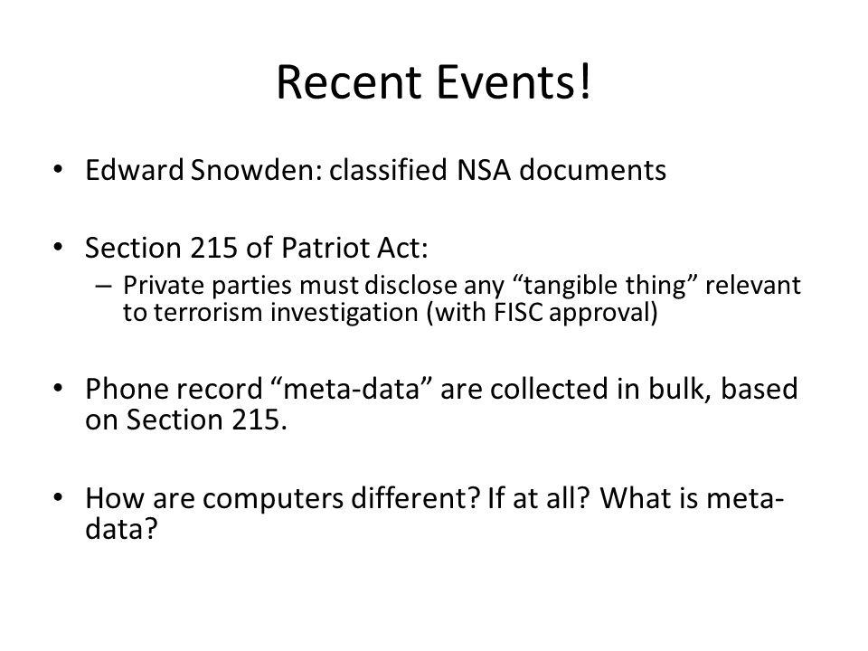 Recent Events.