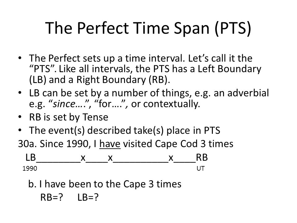 The Perfect Time Span (PTS) The Perfect sets up a time interval.