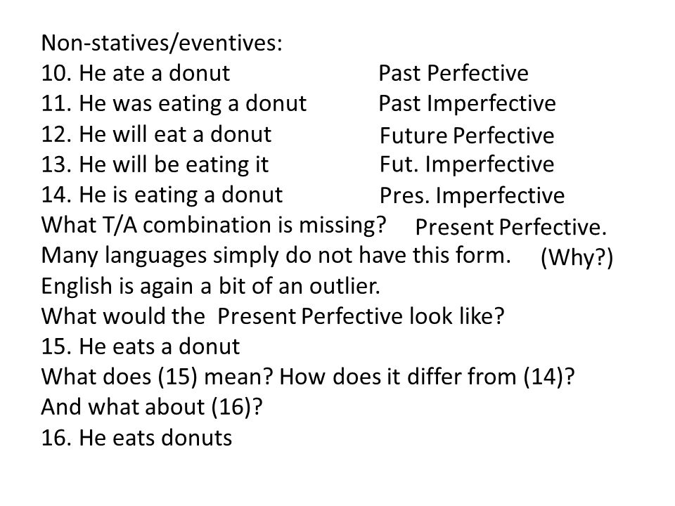 Non-statives/eventives: 10. He ate a donutPast Perfective 11.