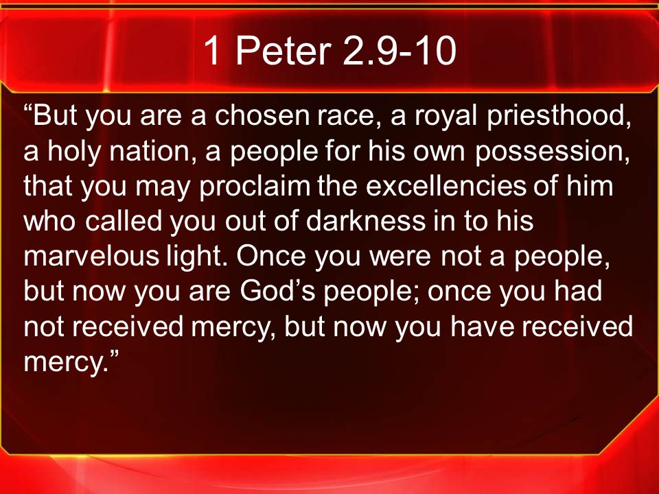 """1 Peter 2.9-10 """"But you are a chosen race, a royal priesthood, a holy nation, a people for his own possession, that you may proclaim the excellencies"""