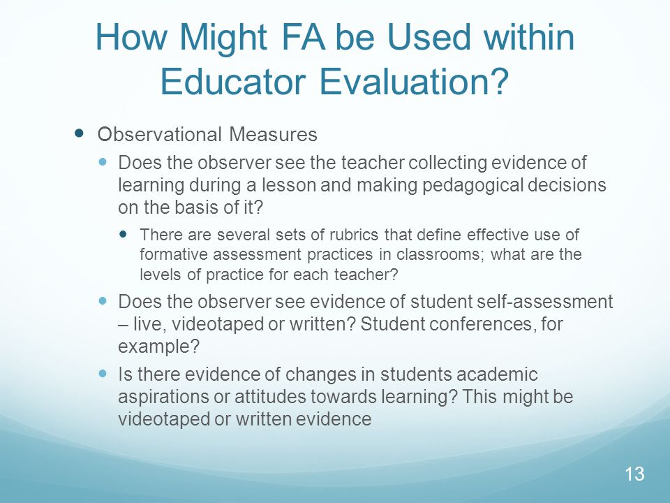 How Might FA be Used within Educator Evaluation.