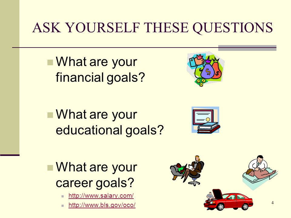 ASK YOURSELF THESE QUESTIONS What are your financial goals.